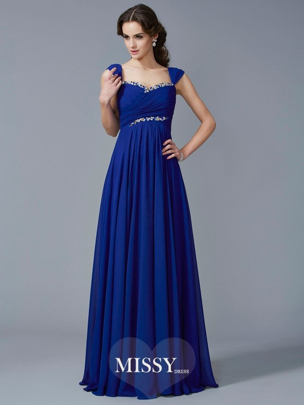 A-Line/Princess Sweetheart Chiffon Beading Floor-Length Dress