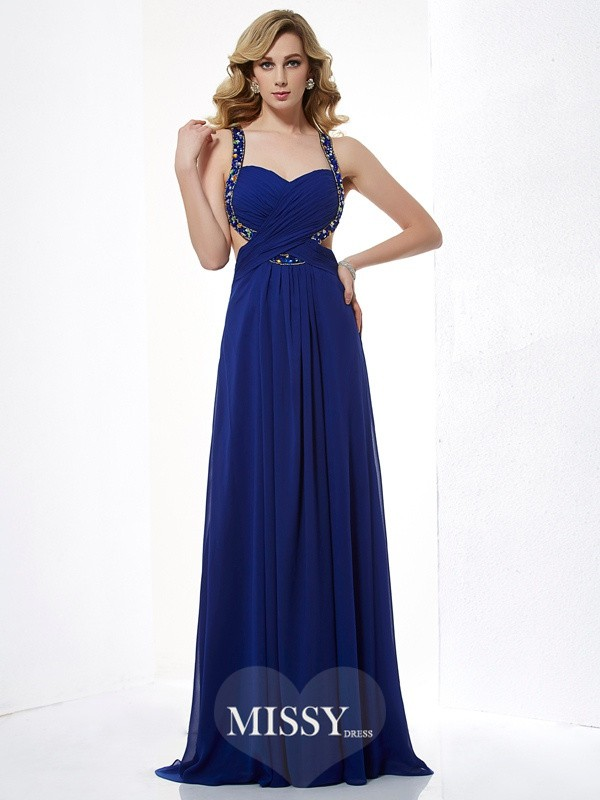 A-Line/Princess Beading Halter Sleeveless Floor-Length Chiffon Dress