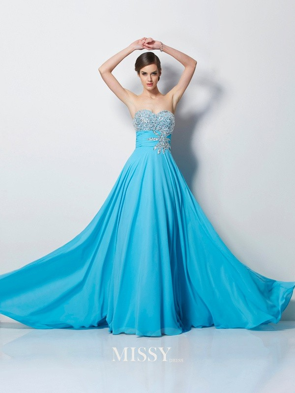 A-Line/Princess Sweetheart Beading Sleeveless Chiffon Sweep/Brush Train Dress