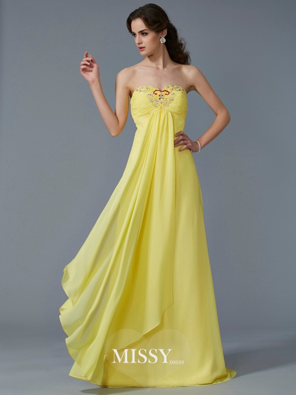 A-Line/Princess Sweetheart Beading Chiffon Sweep Dress