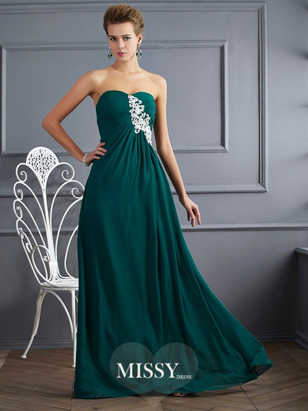 Sheath/Column Sweetheart Sleeveless Beading Floor-length Chiffon Dress