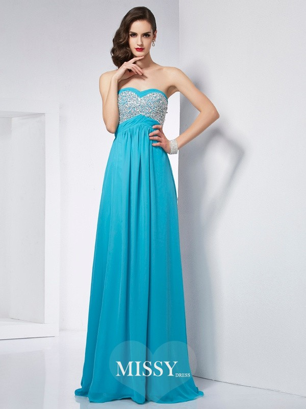 A-Line/Princess Sleeveless Chiffon Floor-Length Dress