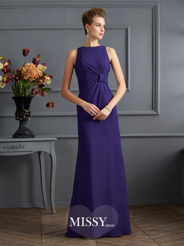 Sheath/Column Bateau Sleeveless Pleats Chiffon Floor-Length Dress