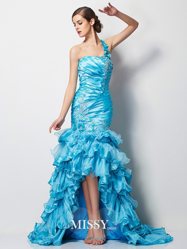 Trumpet/Mermaid One-Shoulder Sleeveless Beading Asymmetrical Taffeta Dress
