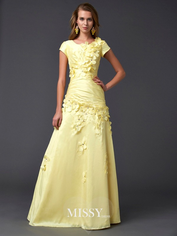 Sheath/Column Short Sleeves Scoop Floor-length Taffeta Dress