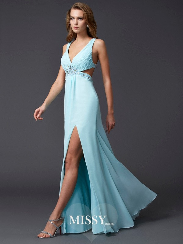 Sheath/Column V-neck Sleeveless Beading Floor-length Chiffon Dress