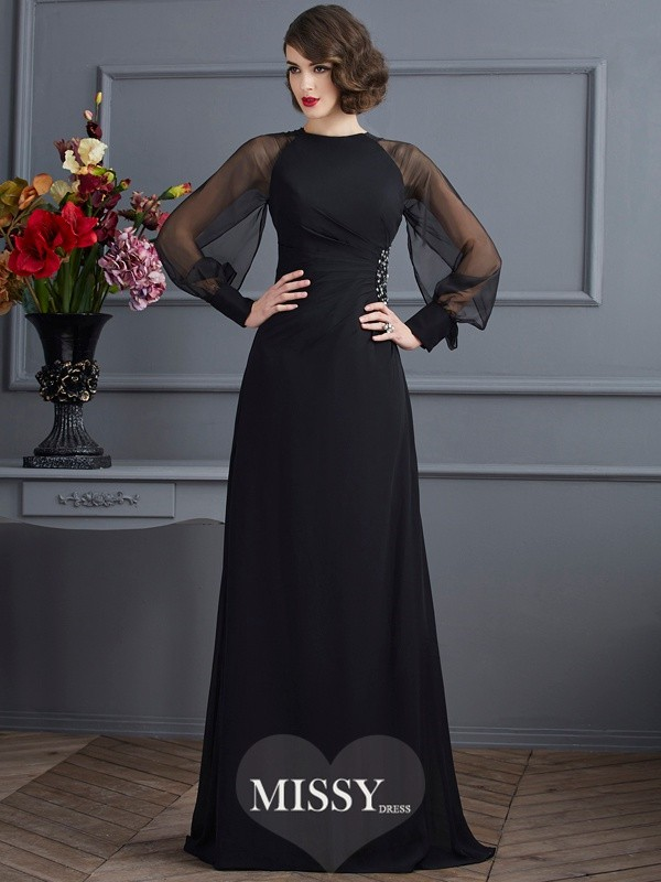 Sheath/Column Scoop Long Sleeves Beading Sweep/Brush Train Chiffon Dress