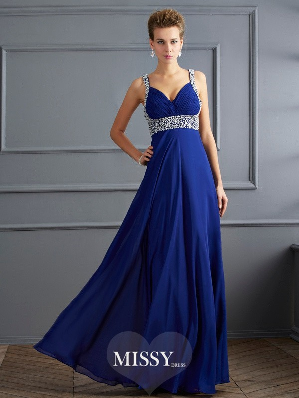 Straps Sleeveless Floor-length Beading Chiffon Dress