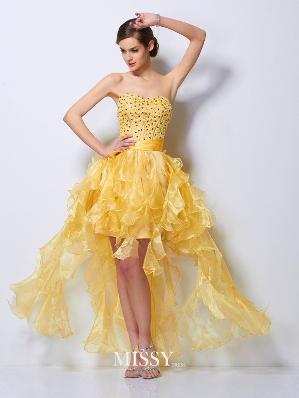 A-Line/Princess Sweetheart Beading Sleeveless Tulle Asymmetrical Dress