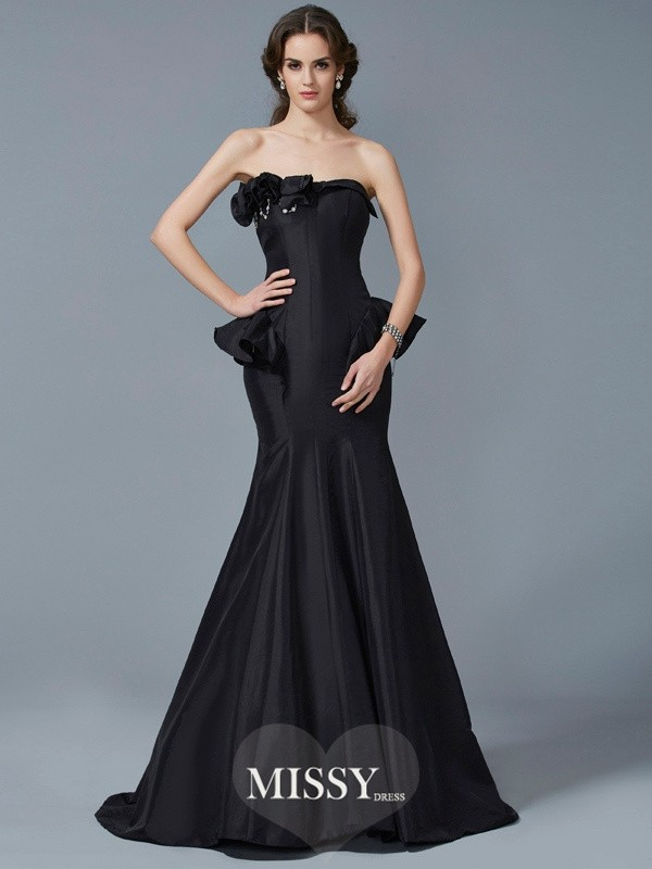 Trumpet/Mermaid Strapless Ruffles Sleeveless Sweep Taffeta Dresses