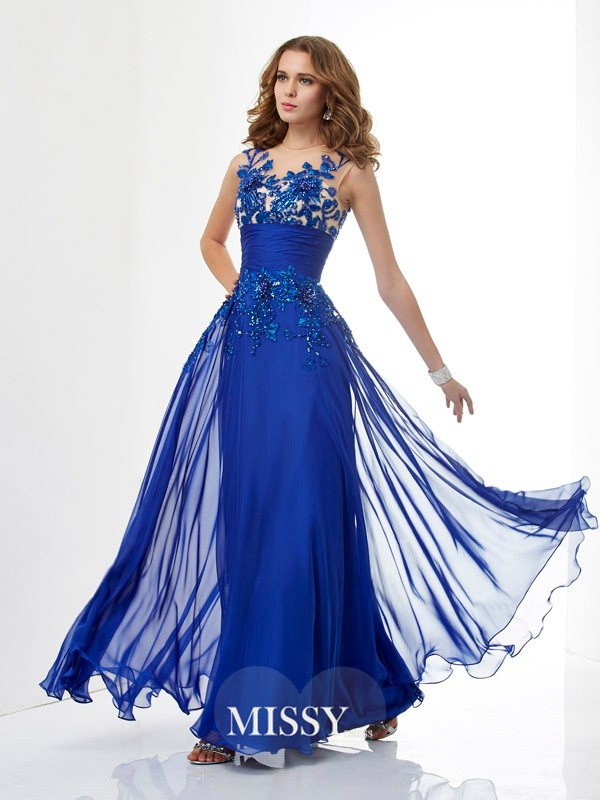 A-Line/Princess High Neck Floor-Length Sleeveless Applique Beading Chiffon Dresses