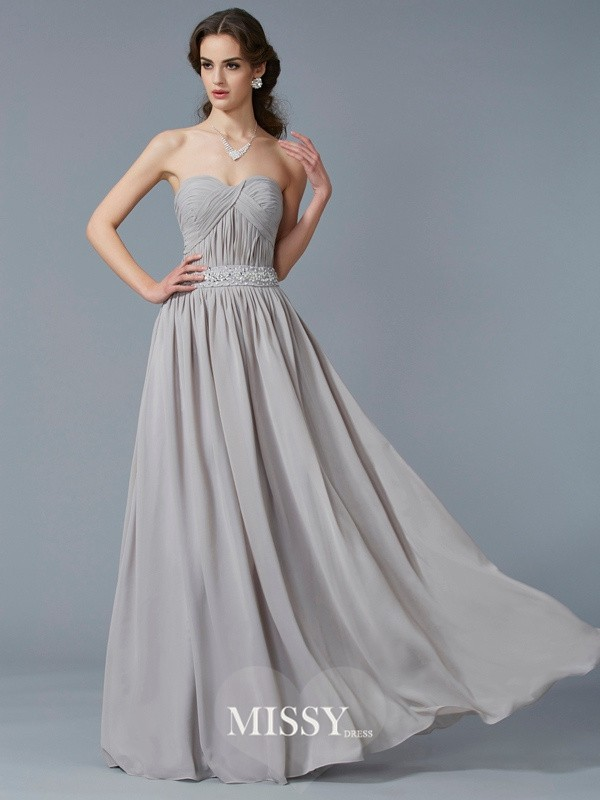 Princess Sweetheart Sleeveless Beading Floor-Length Chiffon Dress