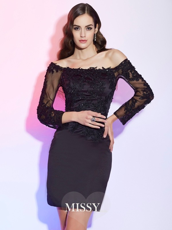 Sheath/Column Off-the-Shoulder Long Sleeves Applique Short/Mini Satin Mother of the Bride Dresses