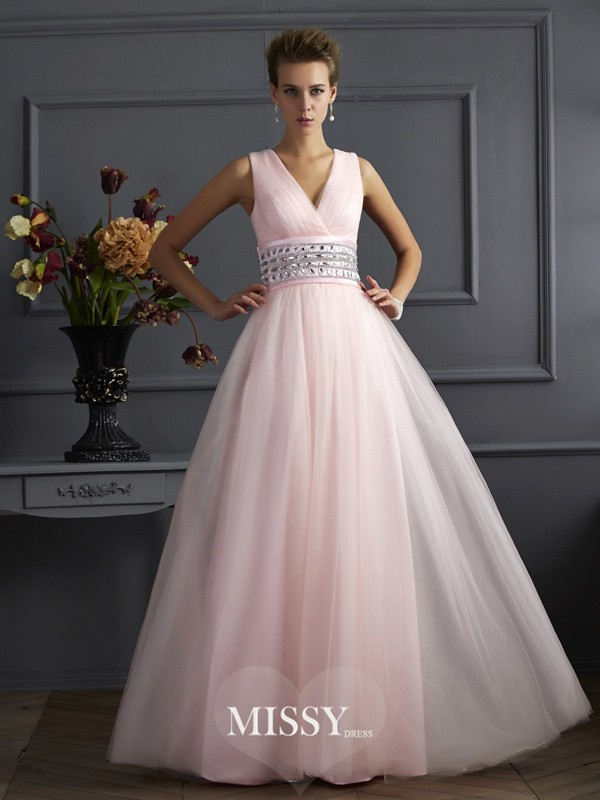 Ball Gown V-neck Beading Sleeveless Floor-Length Net Dresses