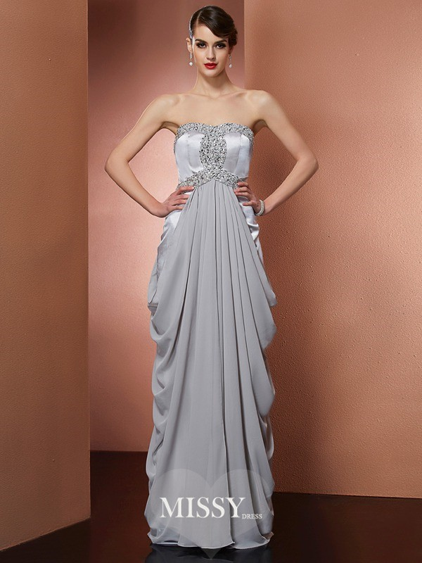 Strapless Beading Sleeveless Floor-Length Chiffon Dresses