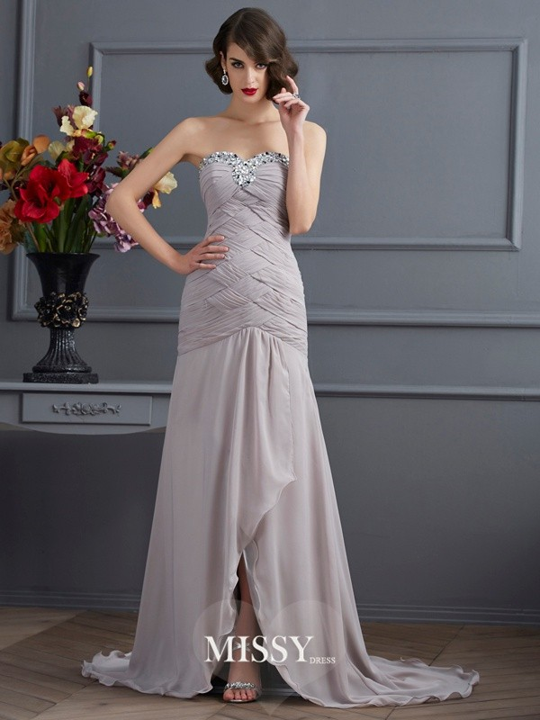 Sweetheart Beading Sleeveless Brush Train Chiffon Dresses