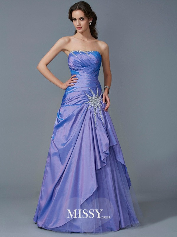 Trumpet/Mermaid Strapless Sleeveless Beading Taffeta Floor-Length Dress