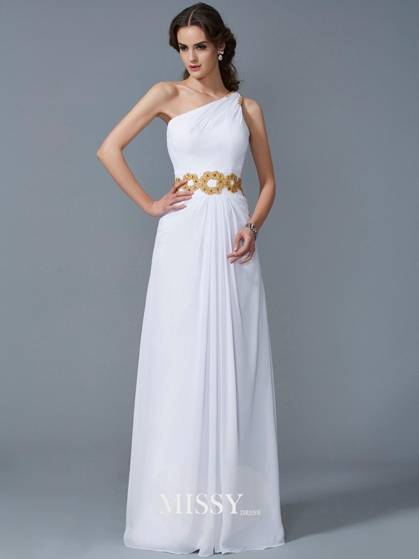 One-Shoulder Sleeveless Beading Floor-Length Chiffon Dresses
