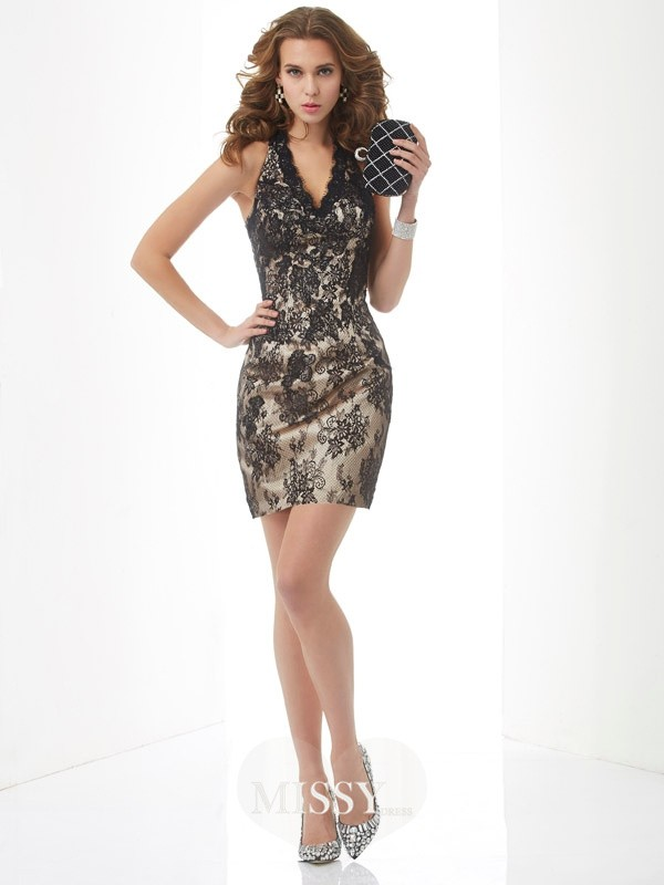 Sheath/Column Halter Sleeveless Short/Mini Lace Dresses
