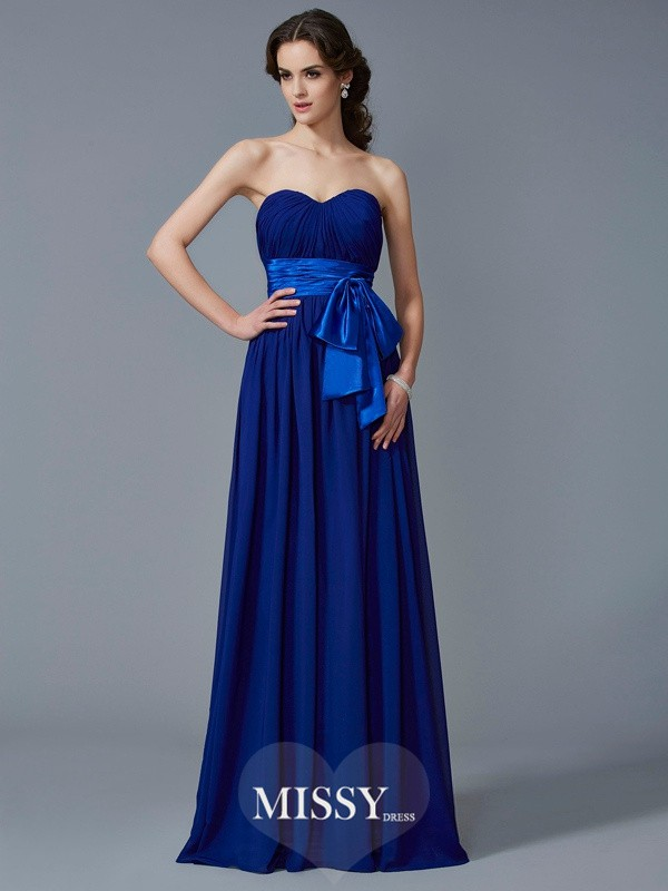 Princess Sweetheart Sleeveless Pleats Chiffon Floor-Length Dresses