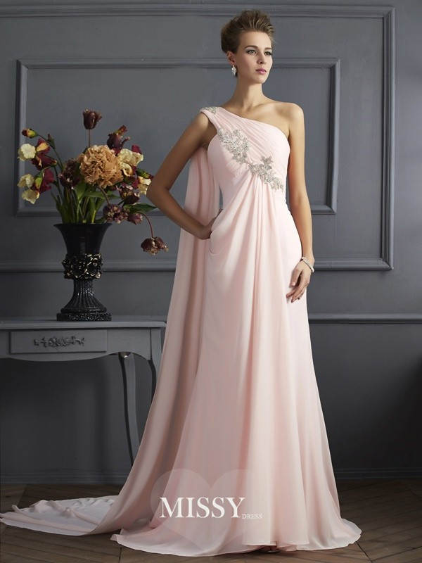 A-Line/Princess One-Shoulder Sleeveless Chiffon Beading Sweep Dresses