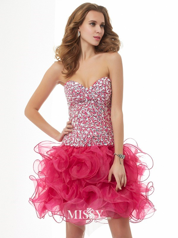 Sheath/Column Sweetheart Sleeveless Beading Short/Mini Organza Dresses