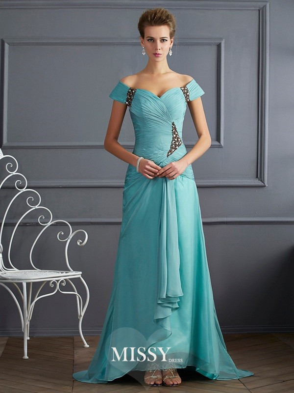 A-Line/Princess Off-the-Shoulder Sleeveless Beading Brush Train Chiffon Dresses