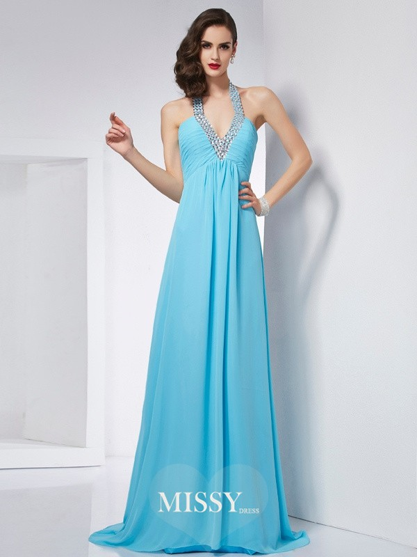 A-Line/Princess Halter Sleeveless Chiffon Sweep/Brush Train Dress