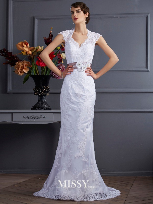 Trumpet/Mermaid Sleeveless Satin Applique Sweep/Brush Train Wedding Dress