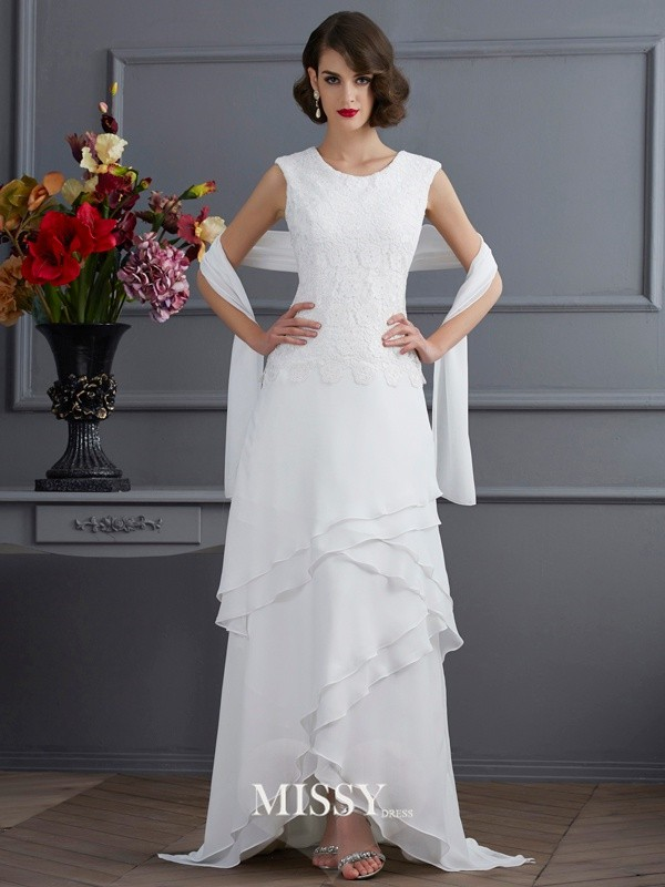 Sheath/Column Bateau Sleeveless Lace Asymmetrical Chiffon Dress