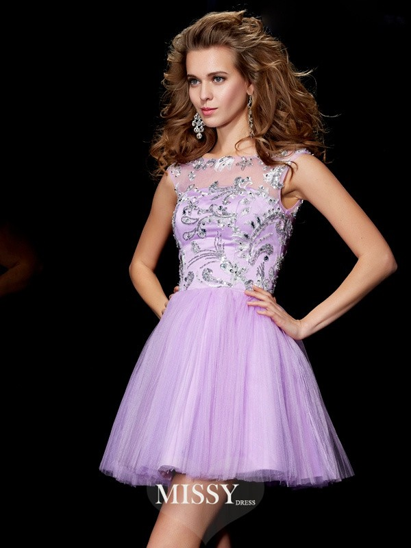 A-Line/Princess Bateau Short Sleeves Beading Short/Mini Satin Dresses