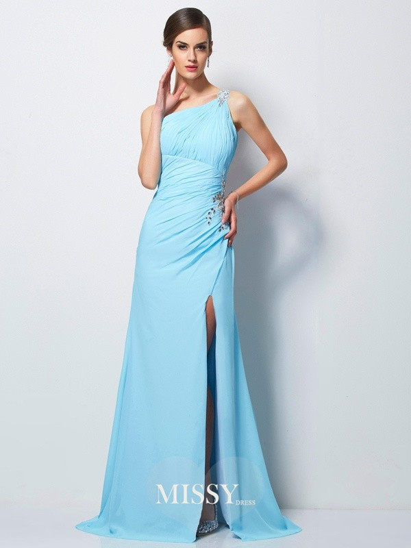 Sheath/Column One-Shoulder Beading Sweep/Brush Train Chiffon Dresses