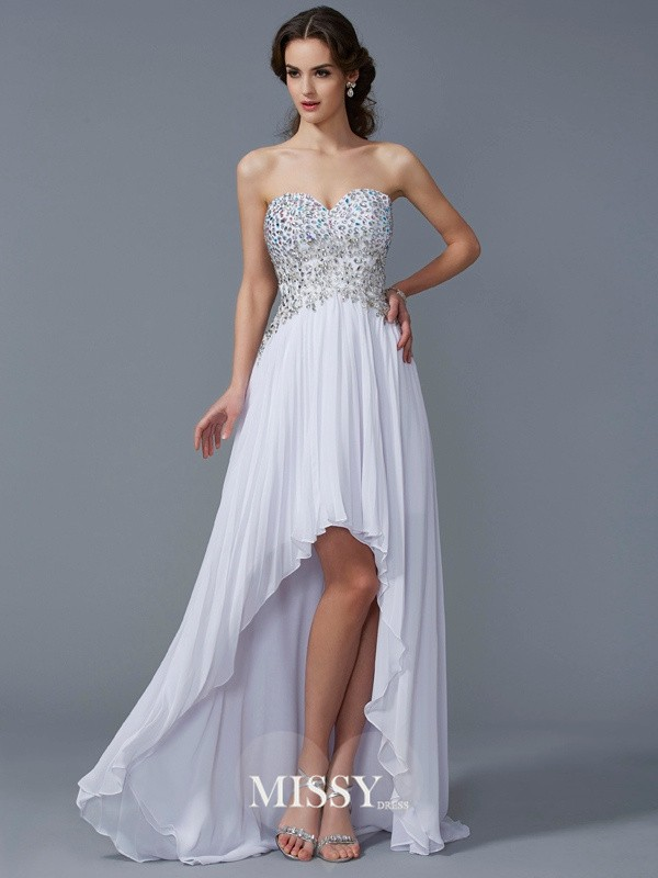 Princess Sweetheart Beading Asymmetrical Chiffon Dresses