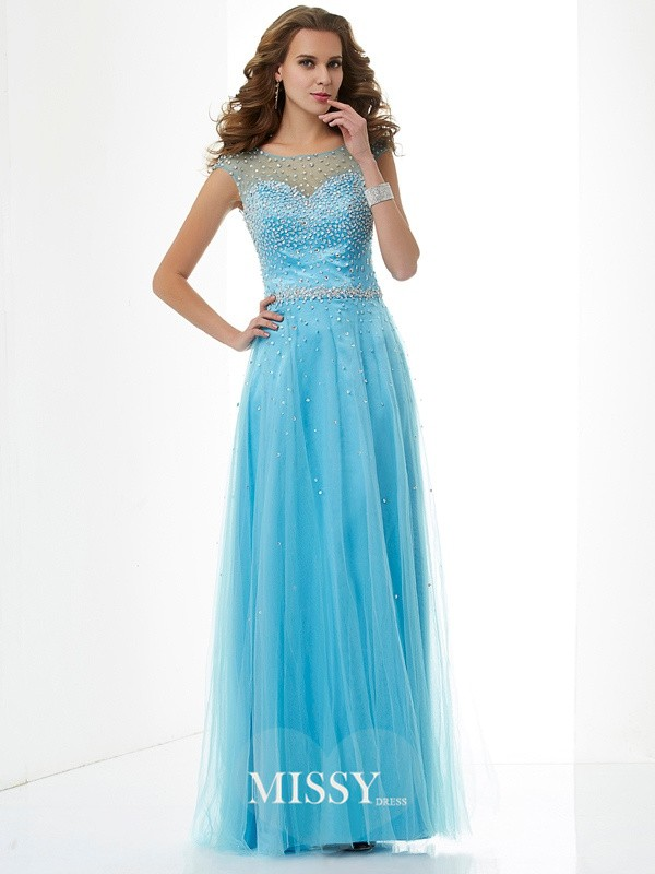 Sheath/Column High Neck Beading Floor-Length Net Dresses