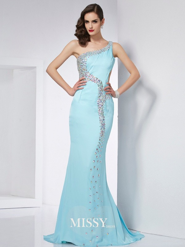 Trumpet/Mermaid One-Shoulder Beading Sweep/Brush Train Chiffon Dresses
