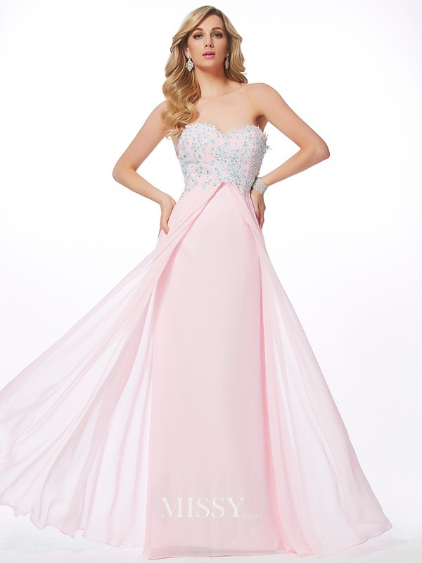 Sheath/Column Sweetheart Applique Chiffon Floor-Length Dresses With Beading