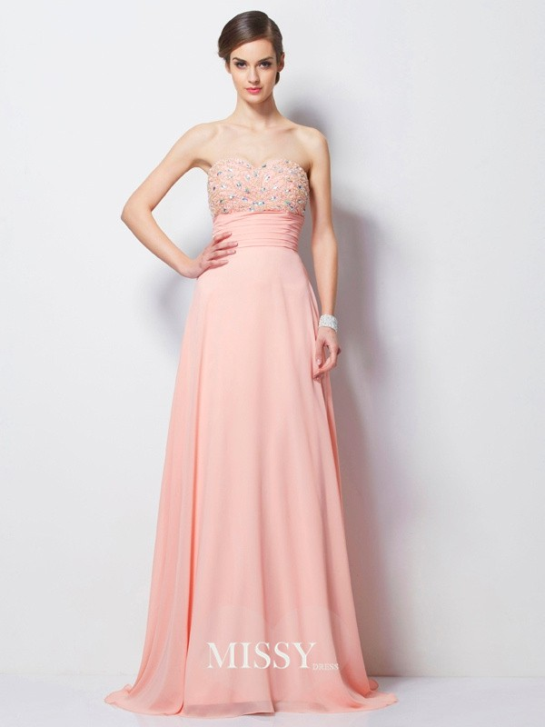Princess Sweetheart Beading Sleeveless Sweep Chiffon Dress