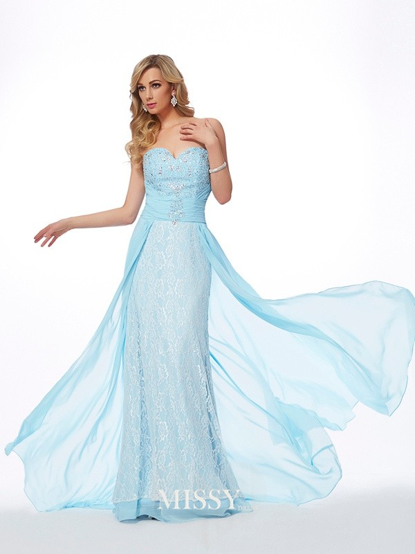 A-Line Sweetheart Sleeveless Beading Chiffon Sweep Dress