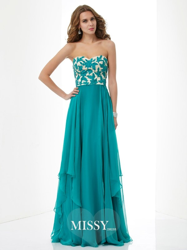 Princess Sweetheart Floor-length Chiffon Dress
