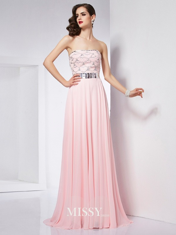 Princess Strapless Sleeveless Beading Chiffon Brush Train Dress