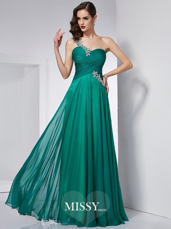 A-Line/Princess One-Shoulder Sleeveless Chiffon Floor-Length Dress