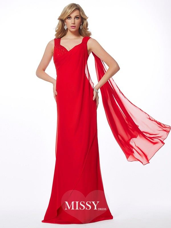 Sheath/Column Straps Floor-Length Beading Chiffon Dresses