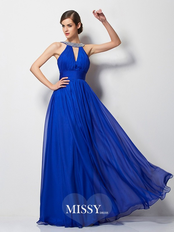 A-Line/Princess V-neck Beading Floor-Length Dresses