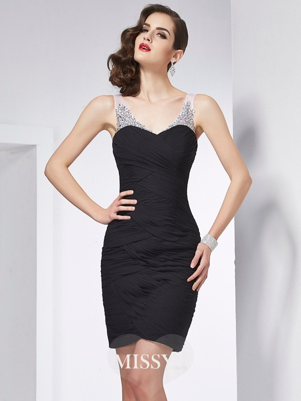 Sheath/Column Straps Beading Short/Mini Chiffon Dresses