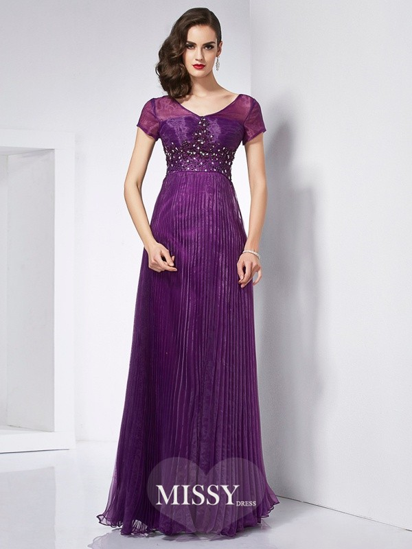 A-Line/Princess V-neck Short Sleeves Beading Organza Floor-Length Dresses