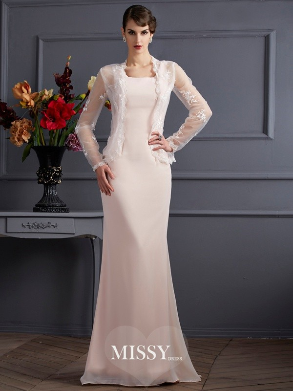 Sheath/Column Square Chiffon Floor-Length Mother of the Bride Dresses