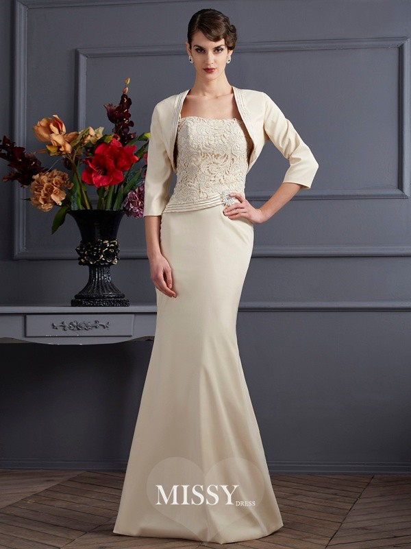Sheath Square Floor-Length Elastic Woven Satin Mother Of The Bride Dresses