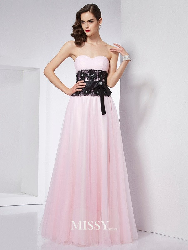 A-Line/Princess Sweetheart Floor-Length Lace Satin Dresses