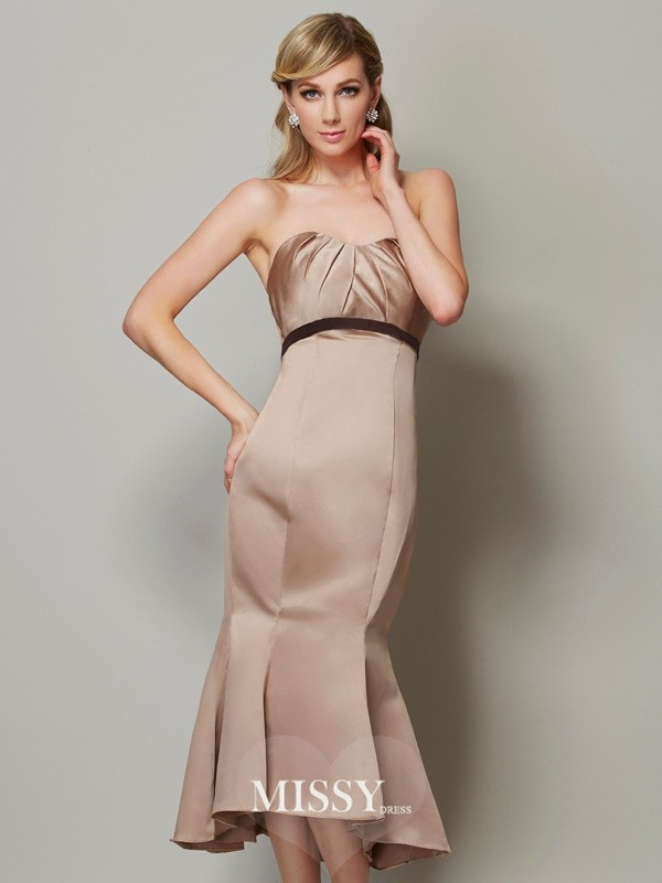 Sheath/Column Sweetheart Satin Sash/Ribbon/Belt Tea-Length Dresses