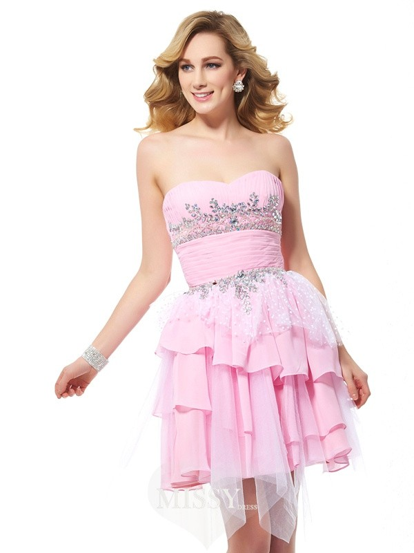 A-Line/Princess Chiffon Sweetheart Beading Short/Mini Dresses